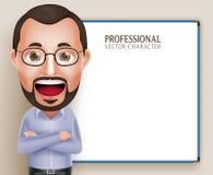 Vieux parler de professeur Teacher Man Vector Character Photo libre de droits