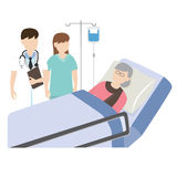 Vieux patient dans le lit d'hôpital avec le médecin et l'infirmière Photo stock