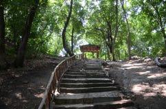 Vieux pavillon dans la forêt Images stock