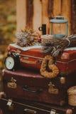 Vieux paysage de valise dehors Photo stock