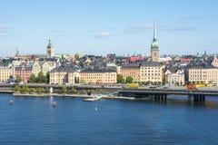 Vieux paysage urbain de Gamla Stan de ville de Stockholm, Suède photos stock