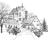 Vieux paysage urbain de ville avec la rue. Croquis du bâtiment historique et de la maison. Images stock