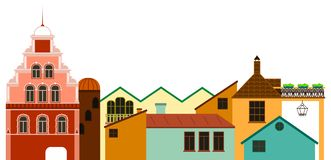 Vieux paysage urbain de ville Vue panoramique colorée de vecteur des maisons illustration libre de droits