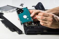 Vieux PC de nettoyage d'ordinateur portable Photographie stock libre de droits