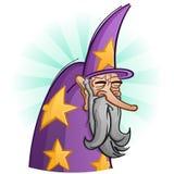 Vieux personnage de dessin animé barbu sage de magicien illustration libre de droits