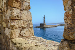 Vieux phare égyptien dans Chania Photos stock