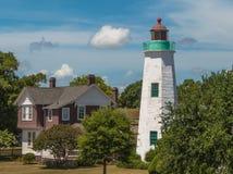 Vieux phare de confort de point Images libres de droits