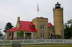 Vieux phare de point de Mackinac, ville de Mackinaw, Michigan Images libres de droits