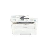 Vieux photocopieur blanc de plan rapproché dans le bureau, fournitures de bureau d'isolement sur le fond blanc image stock
