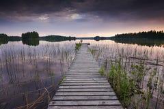 Vieux pilier en Finlande Photos libres de droits