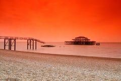 Vieux pilier occidental de Brighton Photo libre de droits