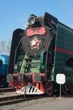 Vieux plan rapproché de la locomotive à vapeur P-36 sur la route ferroviaire à St Petersburg Images stock