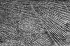 Vieux plan rapproché en bois entaillé, adzed, ciselé âgé, fond gris-foncé de texture mangé par pruner noir et blanc L'espace vide photo stock