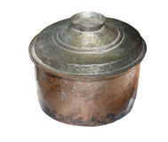 Vieux plat de cocotte en terre ou pot de cruche, d'isolement sur le blanc Photographie stock