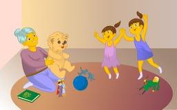 Vieux playng de garde d'enfants un jeu avec les enfants Images stock