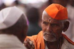 Vieux pèlerin indou indien Photo stock