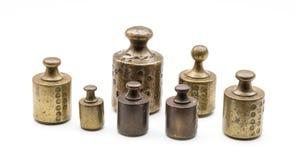 Vieux poids antiques en laiton, Hollande Photographie stock