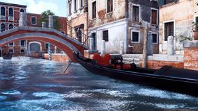 Vieux pont d'anb vide de gondole au-dessus de canal à Venise illustration de vecteur