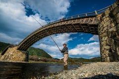 Vieux pont en bois de KINTAI Images stock