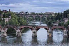 Vieux Pont en Pont du 22 Aout stock foto's