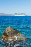 Vieux port Ammoudi de village d'Oia à l'île de Santorini en mer Égée, Grèce Images libres de droits
