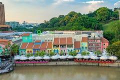 Vieux port de Clarke Quay à Singapour Image stock