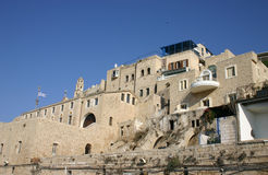 Vieux port de Jaffa (Yaffo) - vue de la mer Photographie stock libre de droits