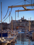 Vieux port de Marseille, France. Reflection of yachts in the old port of Marseille on sundown Royalty Free Stock Photo
