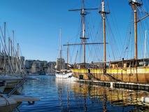Vieux port de Marseille, Frankrike Arkivbild