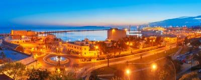 Vieux port de nuit de Héraklion, Crète, Grèce photo libre de droits