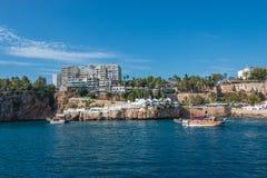 Vieux port et en centre ville Marina appelée à Antalya, Turquie Images stock