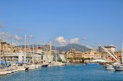 Vieux port le 13 avril 2008 à Gênes Images libres de droits
