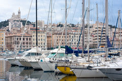 Vieux port of marseille. Scenery in old port of marseilles on french riviera Royalty Free Stock Photos