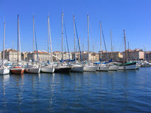 Vieux Port (Marseille, France). Sailing boats in the Vieux Port of Marseille (France Royalty Free Stock Photo