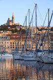 Vieux Port - Marseille - South of France. Late afternoon sunlight over the Vieux Port area of Marseille in the Cote d'Azur region of the South of France. Looking Stock Photos