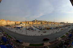 Vieux Port in Marseilles. Fish eye view of the Vieux Port in Marseilles, France Royalty Free Stock Image