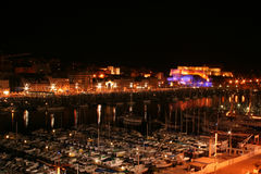 Vieux Port by night (Marseille, France). The Vieux Port of Marseille by night Stock Photography