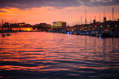 Vieux Port Sunset. Sunset view of the Vieux Port (the old port) in Marseilles, France Stock Photography