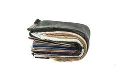 Vieux portefeuille noir Photos libres de droits