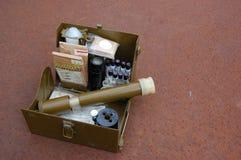 Vieux positionnement soviétique de militaires pour le contrôle d'arme chimique Photographie stock