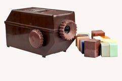 Vieux projecteur de diamètre de brun avec le groupe de glissière Photographie stock
