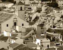 Vieux, provinicial panorama espagnol de sépia de ville Photos stock