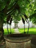 Vieux puits d'eau décoré photo libre de droits