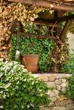 Vieux puits d'eau et un seau en bois parmi des feuilles de lierre Photos stock