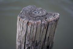 Vieux pylône en bois de dock Images libres de droits