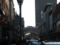 Vieux-Québec, medieval arch. Nice rustic,medieval, street road Royalty Free Stock Photos