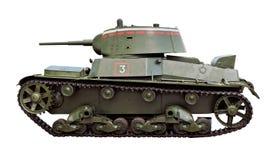 Vieux réservoir soviétique T-26 d'isolement sur le blanc Image libre de droits