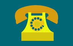 Vieux, rétro, antique, antique, vintage, hippie, jaune, téléphone d'or de disque avec un tube sur un fond bleu-foncé illustration stock