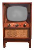 Vieux rétro positionnement de console du cru TV, années '50 d'isolement images stock