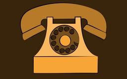 Vieux rétro téléphone stationnaire jaune de hippie d'antiquité de vintage avec la prise d'air et disque sur le fond brun illustration stock